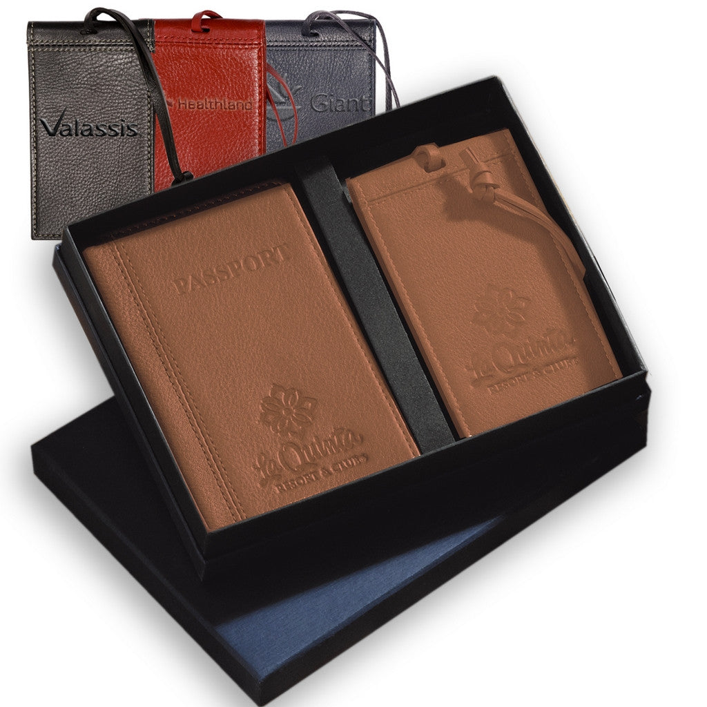 Leather Passport Cover and Luggage Tag Gift Set