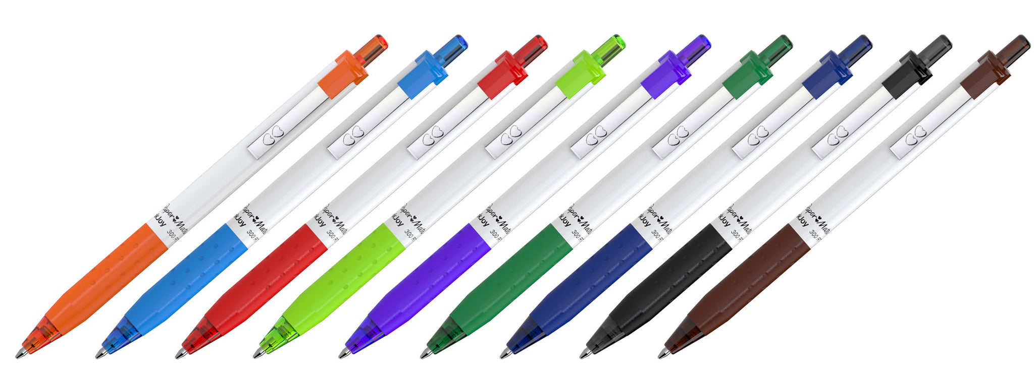 White Barrel Retractable Pens with Colored Inks