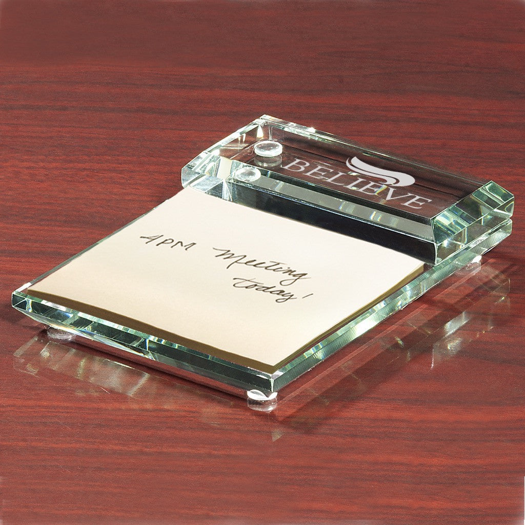 Glass Desktop Note Pad Holder