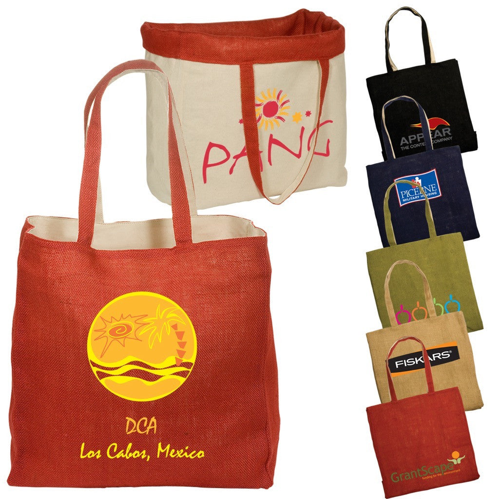 Jute and Cotton Reversible Tote Bags
