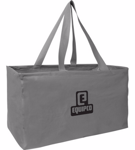 078d0c64fe82d Reusable Two Tone Tote Bags. Structured Carry Tote with Full Color Logo