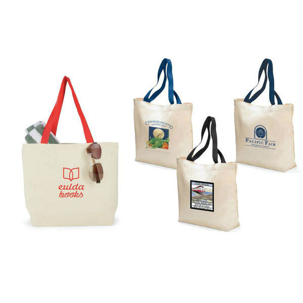 Natural Canvas Tote Bag with Colored Handles