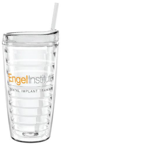 Clear Film Insert Decorated Tumbler with Straw