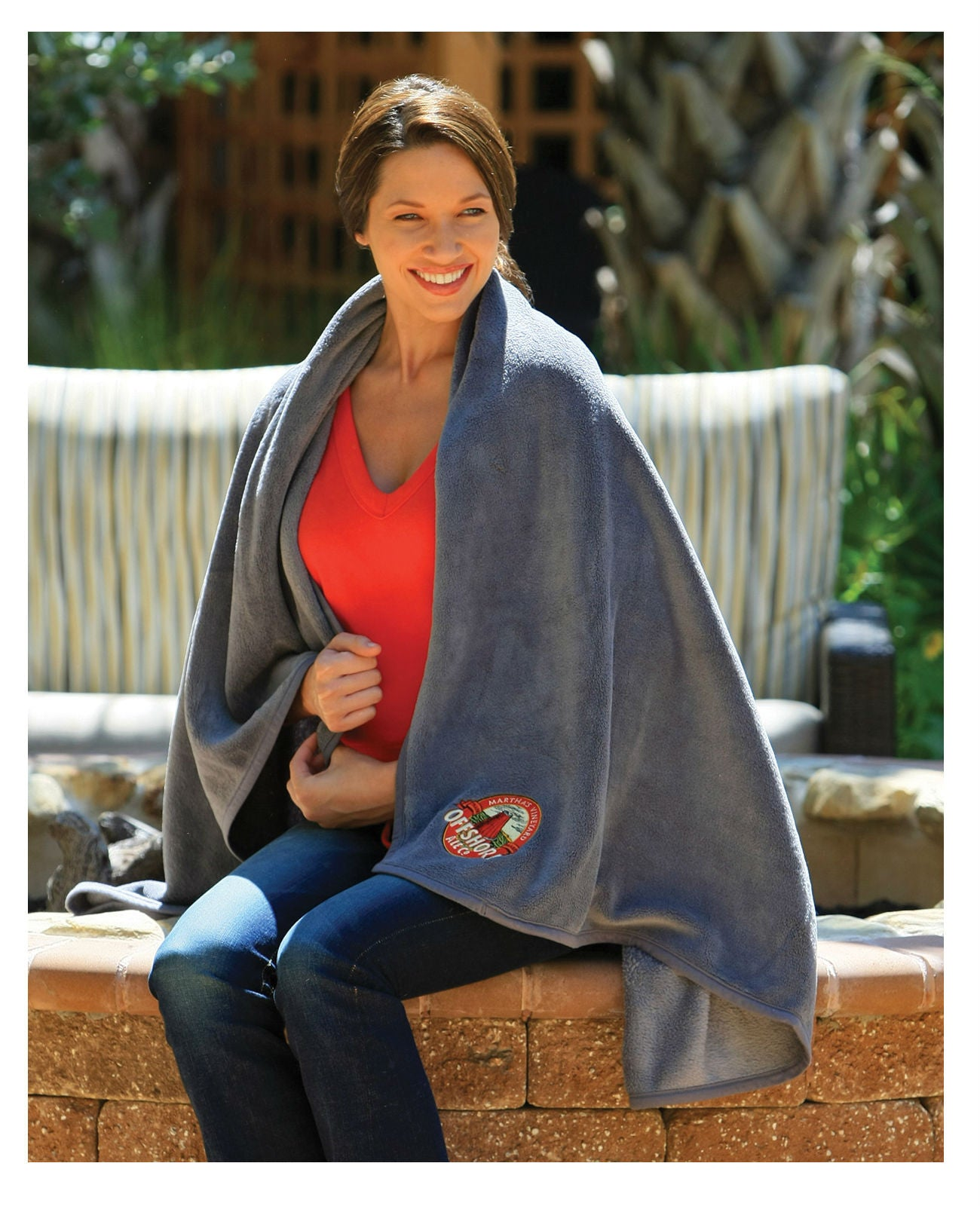 Embroidered Fleece Throw Blanket