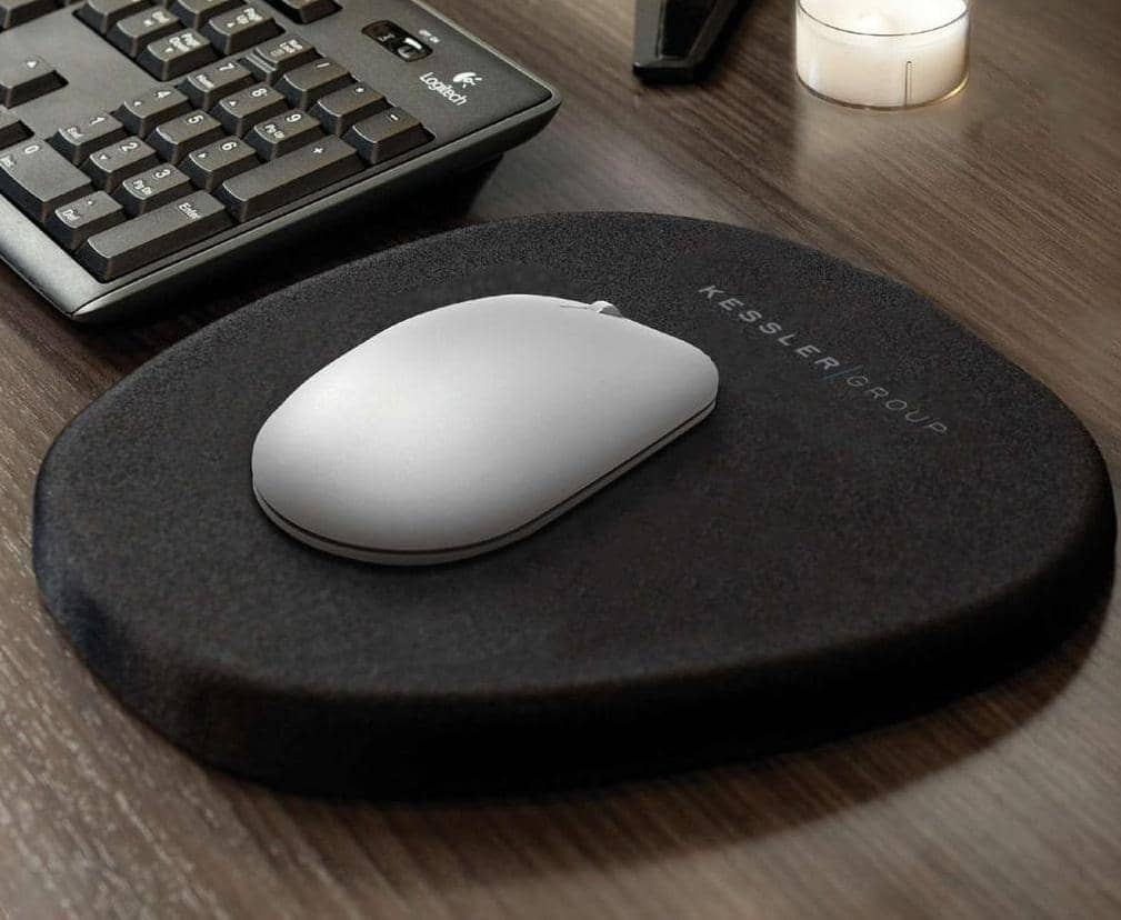 ergonomic custom mousepad in use