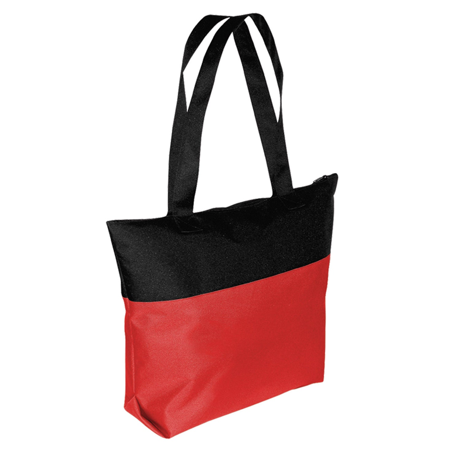 Two Tone Tote Bag with Zip Closure
