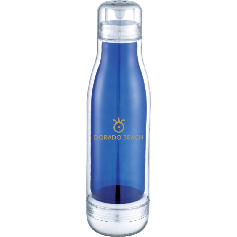 plastic sport bottle with glass liner royal blue