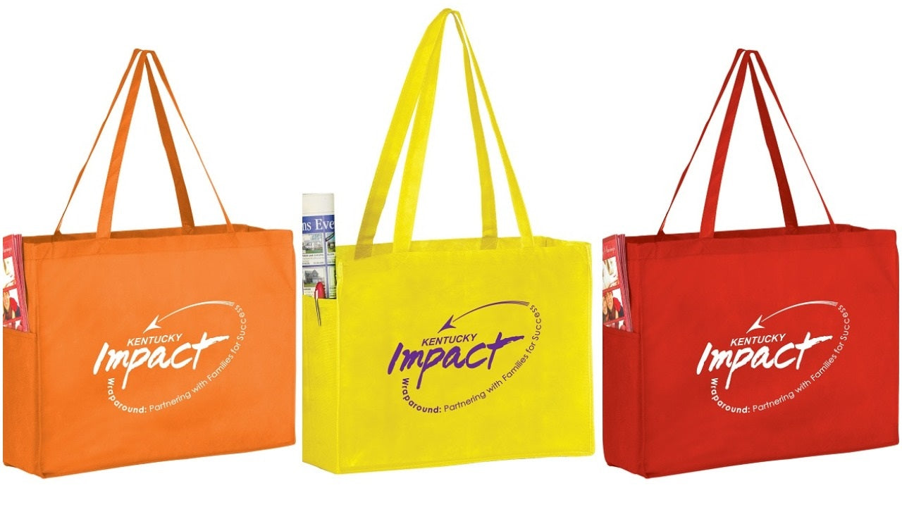 grocery bag with pockets orange yellow red