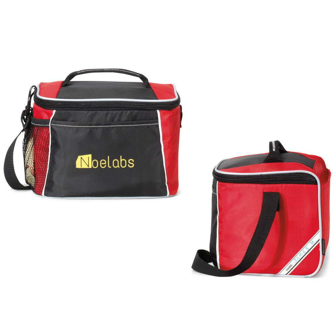 Insulated Lunch Tote with ID Tag - Red
