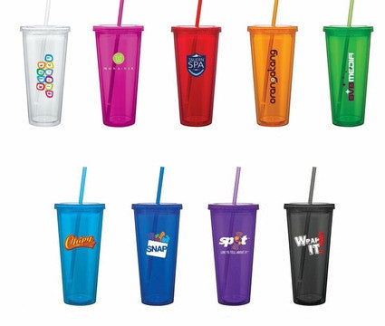Insulated Travel Cup with Lid & Straw