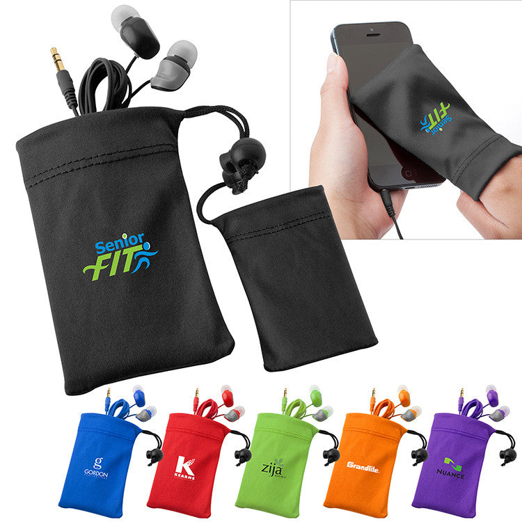 customized earbuds in pouch