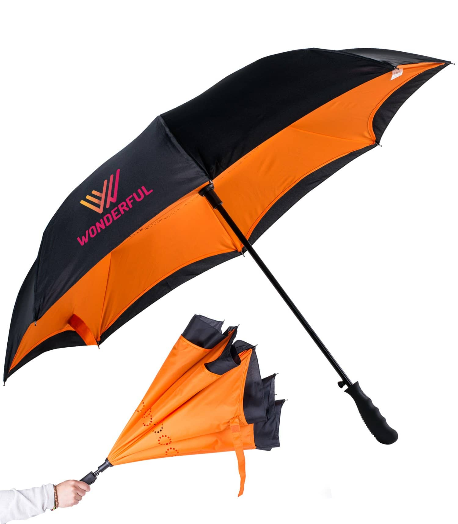 inside out custom umbrella orange black