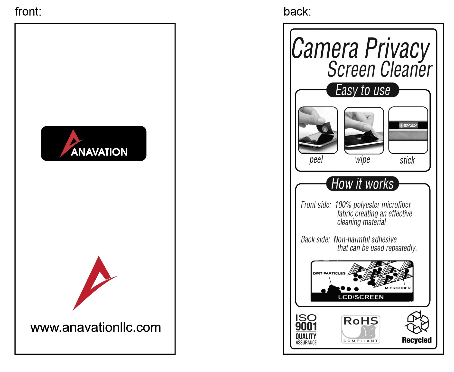 branded webcam cover insert card