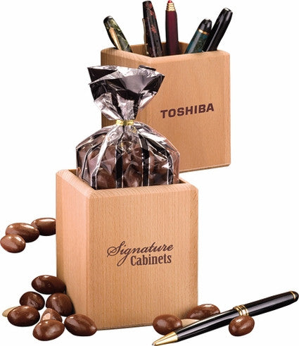 Wooden Pen Holder with Gourmet Snacks