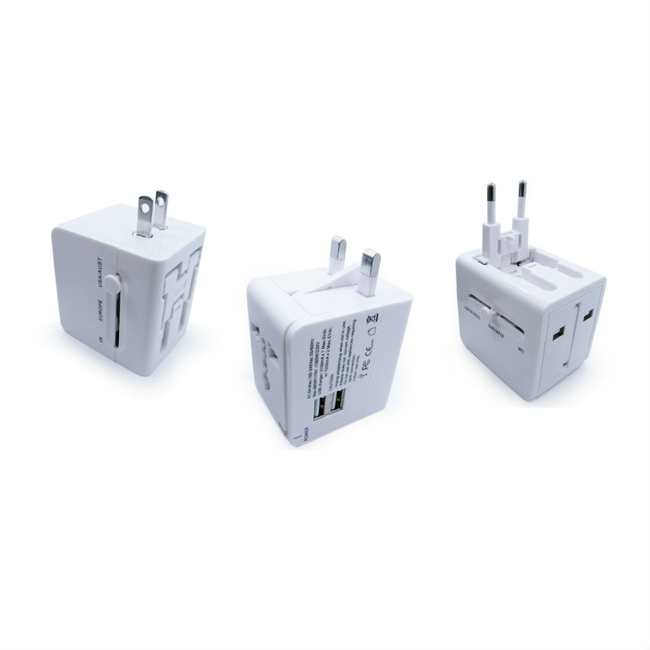 Worldwide AC Travel Adapter with Dual USB Ports