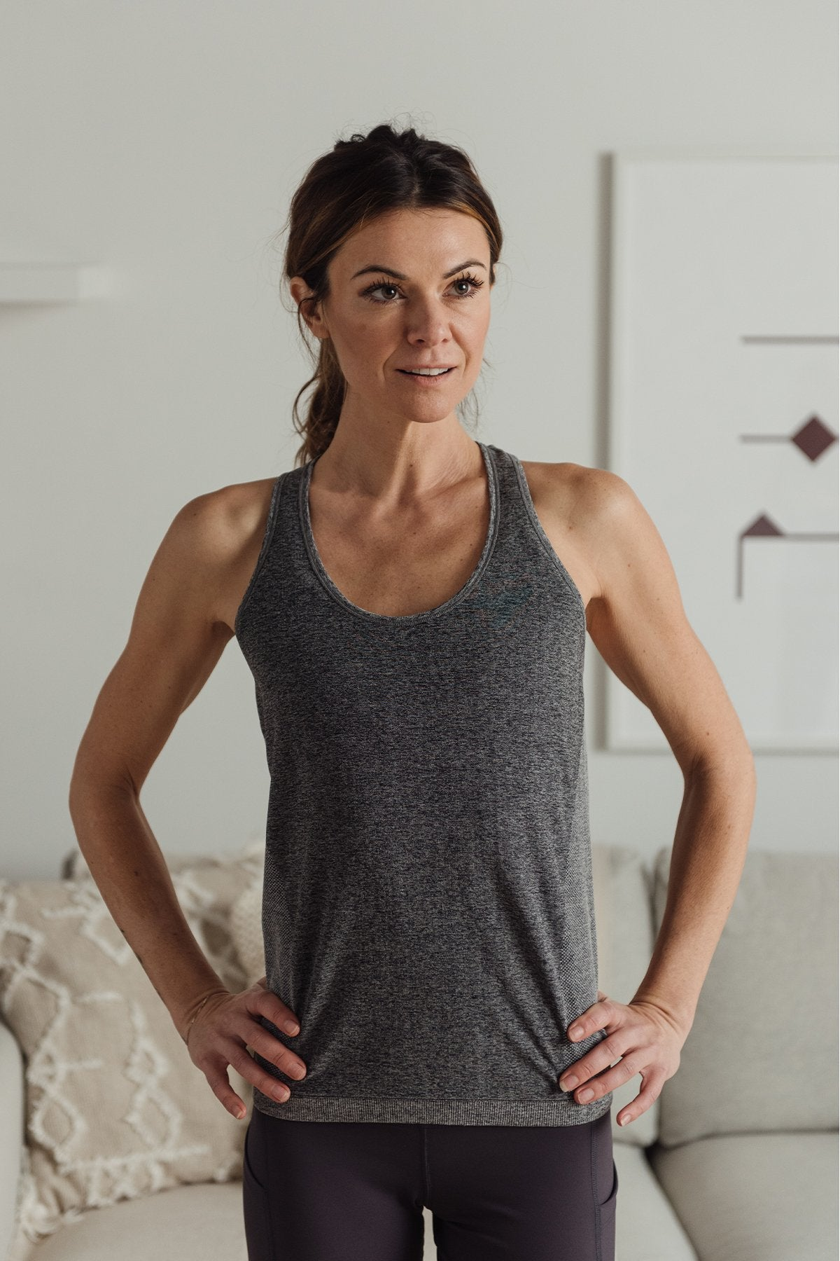 Vitality Racer Tank Heather Grey, TOPS - shopdyi.com