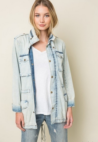 Acid Wash Denim Jacket - MADDOX