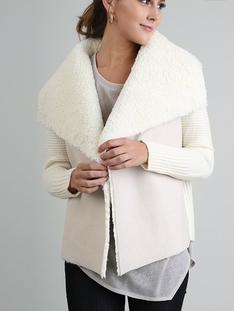 Open Sweater Faux Fur and Suede