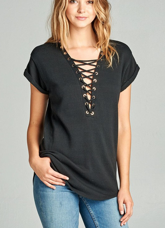 Plus Plunge Lace Up Top [color options] - MADDOX