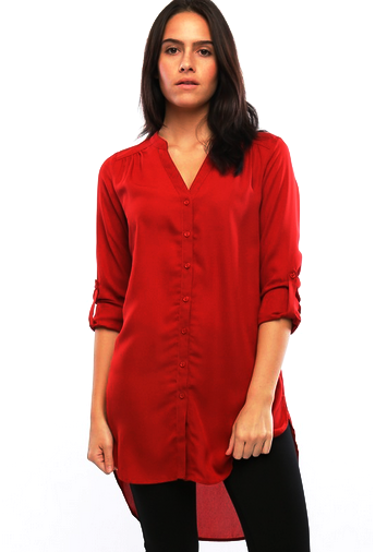Extra Long Button Down Tunic - MADDOX