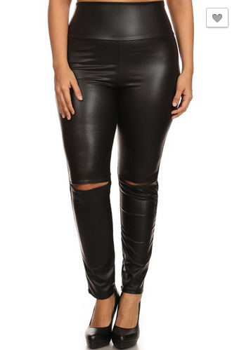 Cut Knee Leggings  [Plus] - MADDOX