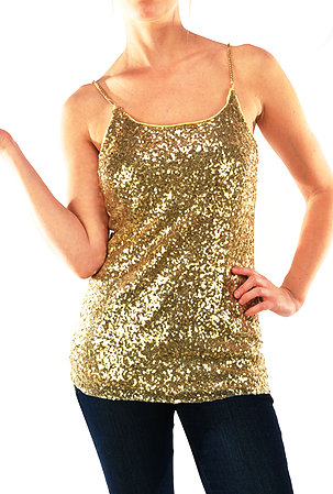 Gold Chain Sequin Top  [color options]