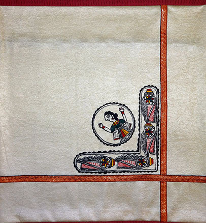 Madhubani Painting, Cushion Cover with mithila art