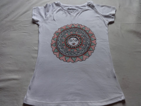 Girl's top tees with madhubani painting,2