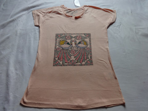 Girl's tops tees with madhubani painting,1