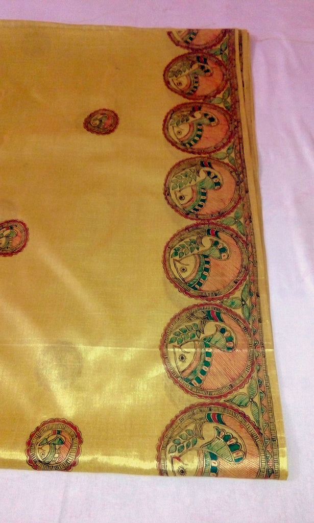 Saree with madhubani painting
