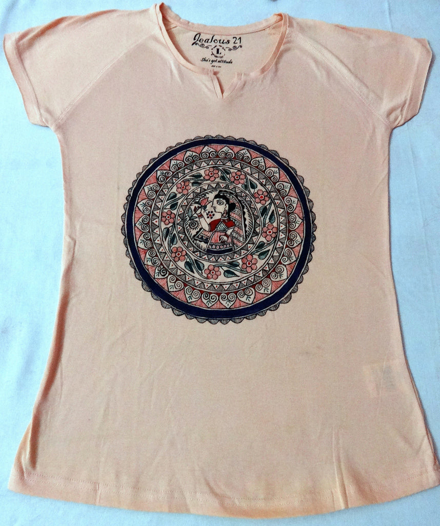 Girl's top tees with madhubani painting,5