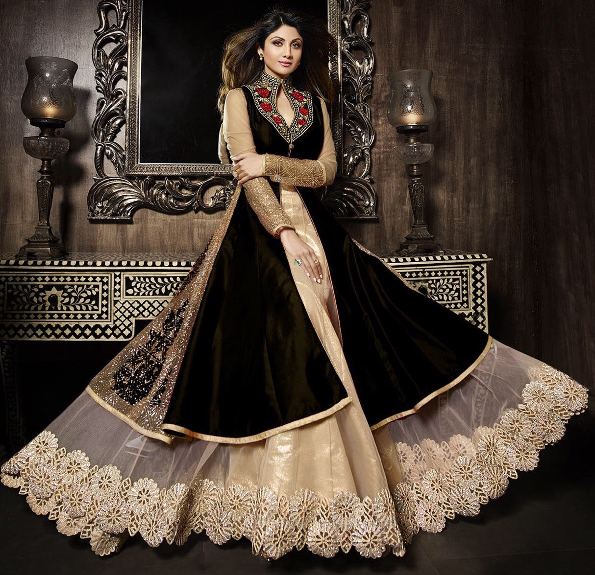 Black lehenga designer suit iy1856 indyarn for Online suit builder