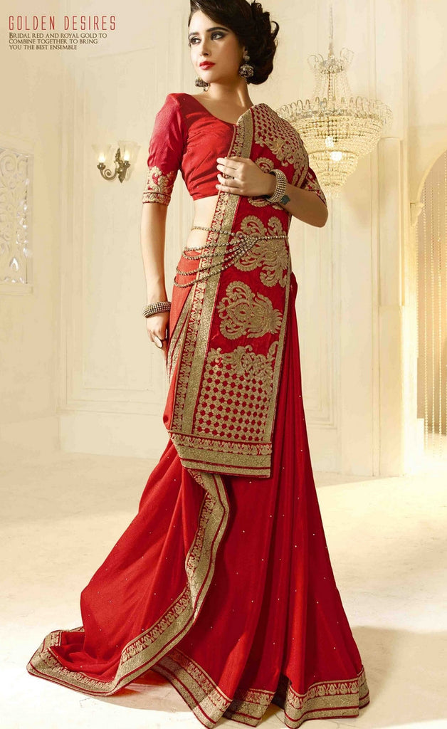 Red Traditional Saree-IY1886