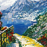 The Road to Positano Howard Behrens Hand Embellished Canvas Serigraph Print Artist Hand Signed and Numbered