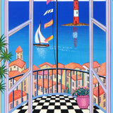 Arcachon Lighthouse Fanch Ledan Serigraph Print on Canvas Artist Hand Signed Numbered and Framed
