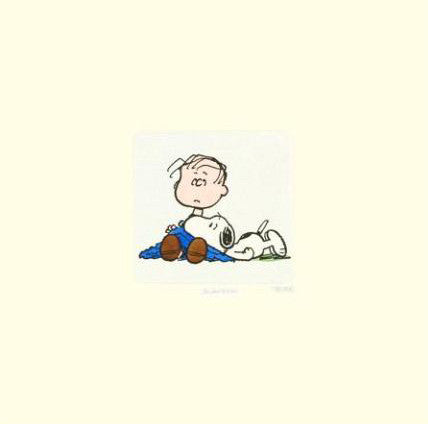 Peanuts Linus and Snoopy Hand Tinted Color Etching Numbered