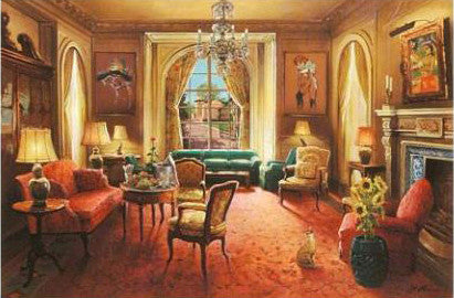 Interior 1 Anatoly Metlan Canvas Giclee Print Artist Hand Signed and Numbered