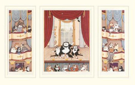 Linda Jane Smith O Sole Meow Fine Art Lthograph Triptych Print Artist Hand Signed and Numbered
