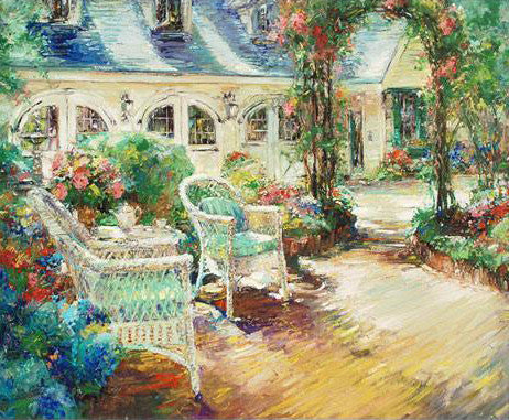 Afternoon Tea Stephen Shortridge Artist Proof Hand Embellished Stretched Canvas Giclee Print Artist Hand Signed and AP Numbered