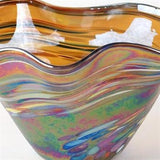 Glass Eye Studio Mini Amber Rainbow Twist Bowl Hand Blown Glass Sculpture Artist Hand Signed and Containing Volcanic Ash from Eruption of Mount St Helens