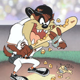 Warner Bros Fine Art Giclee Print Taz Orioles Numbered with WB MLB Seals