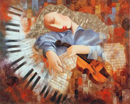 An Afternoon with Mozart Arbe Ara Berberyan Canvas Giclee Print Artist Hand Signed and Numbered
