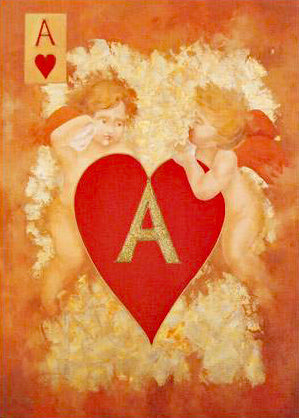 Cupids Plan Their Ace Ara Arbe Berberyan Artist Hand Embellished Canvas Giclee Print Signed and Numbered