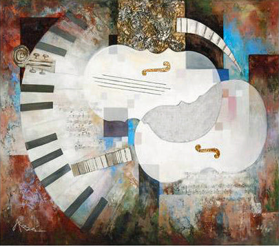 Violin Construction Arbe Ara Berberyan Canvas Giclee Print Artist Hand Signed and Numbered