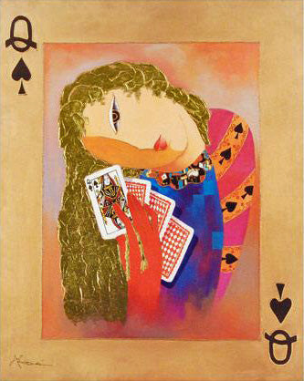 Nordic Queen of Spades Arbe Ara Berberyan Hand Embellished Canvas Giclee Print Artist Artist Signed and Numbered