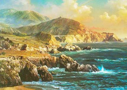 Big Sur Alexander Chen Fine Art Offset Lithograph Print Artist Hand Signed and Numbered