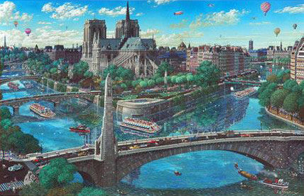 Notre Dame Alexander Chen Canvas Mixed Media Print Artist Hand Signed and Numbered