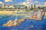 Santa Monica Pier Alexander Chen Fine Art Mixed Media Print Artist Hand Signed and Numbered