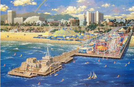 Alexander Chen Santa Monica Pier Fine Art Mixed Media Print Artist Hand Signed and Numbered