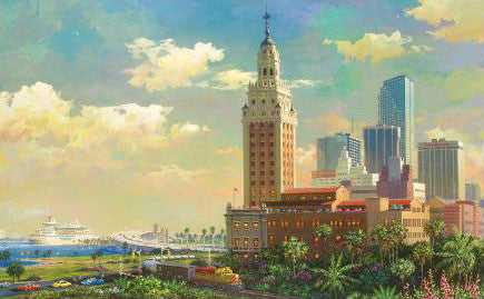 Freedom Tower and Port of Miami Alexander Chen Artist Proof Fine Art Mixed Media Print Artist Hand Signed and Numbered